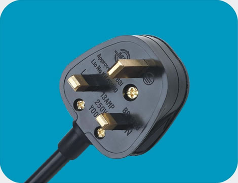 UK Power Cord rewireable 3 pin class=